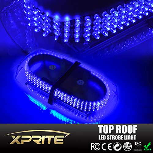 Xprite Blue Law Enforcement LED Mini Bar Strobe Light w/ Magnetic Base (Emergency Blue Light Bar compare prices)