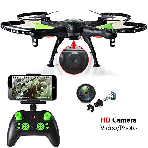Youngway WiFi FPV RC Drone with 2.0MP HD Camera, Night Flying Support, iOS/Android APP Wifi Remote Control, 2.4GHz 4CH 6 Axis Gyro RTF Quadcopter, 360 flips and Headless Mode, Black