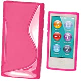 IGadgitz Dual Tone Hot Pink Durable Crystal Gel Skin (TPU) Case Cover for Apple iPod Nano 7th Generation 7G 16GB + Screen Protector