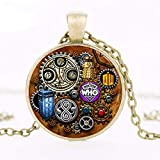 New Fashion Pendant 1pcs Doctor Who Tardis Dr Who Steampunk Inspired Necklace Glass Cabochon Necklace