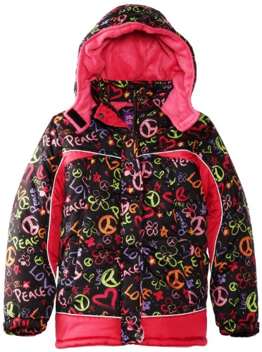Pink Platinum Little Girls' Warm Heart Peace Puffer Snow Jacket Coat 2Tblack