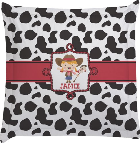 Cowprint Cowgirl Personalized Euro Sham Pillow Case front-985232