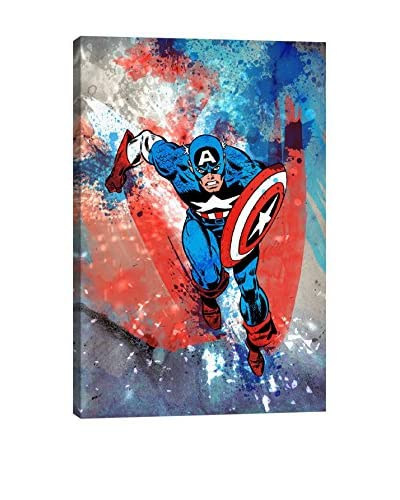 Marvel Comics Gallery  Captain America Running Painted Grunge Canvas Print