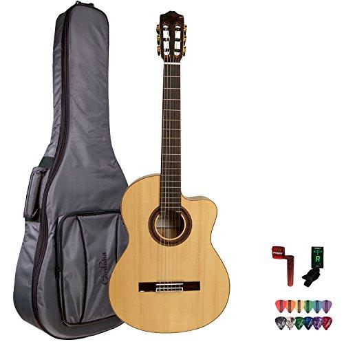 Cordoba Gk Studio Negra Acoustic Guitar With Cordoba Gig Bag, Chromacast String Winder, 12 Pick Sampler And Tuner