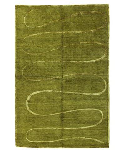 Bashian Hand Knotted Fine Tibetan With Silk Rug, Celedon, 6' 2 x 9'