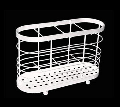 Luxe Support et égouttoir à couverts en acier-blanc