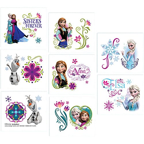 Disney Frozen Temporary Tattoo Birthday Party Favour and Prize Giveaway (16 Pack), Multi Color, 2