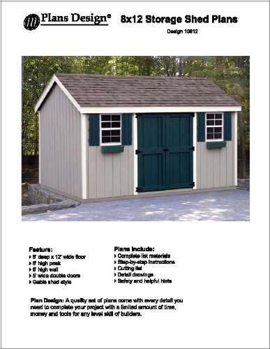 8 x 12 gable storage shed project plans design 10812 ebay for Shed project