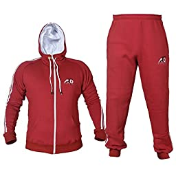 4fit Mens Fleece Track Suit with Hoodie & Bottoms (XL, Maroon)