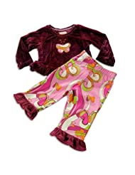 Psketti Infant And Toddler Girls Long Sleeve Pant Set Purple Pink