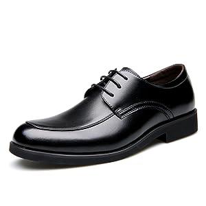 YangXieJiang Men's Lace-up Oxfords Business Dress Shoes Casual Leather shoe Black 7 D(M) US