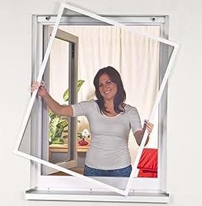 moustiquaire mobile pour fen tre 100x120cm aluminium blanc bricolage. Black Bedroom Furniture Sets. Home Design Ideas