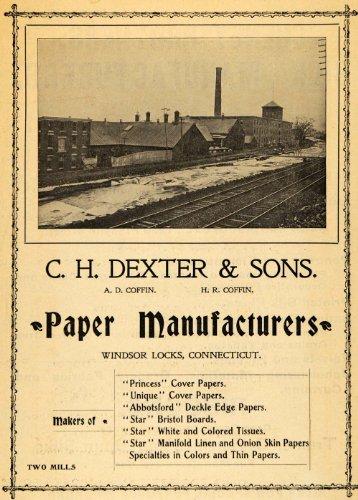 1908 Ad C H Dexter Paper Linen Mfg Mills Coffin Railroad Track Windsor Locks, Ct - Original Print Ad (Ct Loc compare prices)