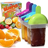 The Friendly Yetis Ice Pop Molds for Frozen Fruit Popsicles and Smoothies. BPA-Free Plastic With Drip Free Handle and Slurper Straw