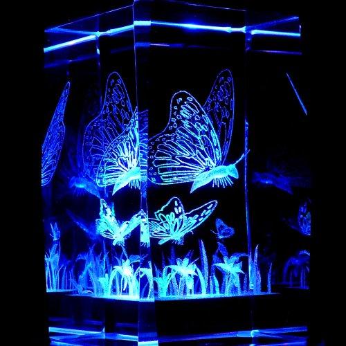 Butterflies 3D Laser Etched Crystal + Rotating Display Light Base With 7 Multi Color Led'S