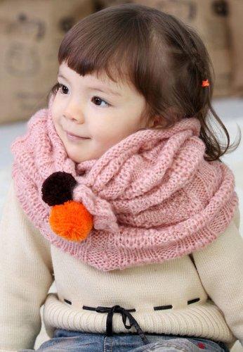 [Topbaby] 冬にピッタリな可愛いおしゃれアイテム! ダブルボール ファッションカラースカーフ マフラー 【キッズ ベビー 赤ちゃん ベビー服】 (ピンク)