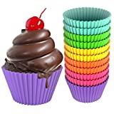Sunsella Little Gems - 12 Premium Quality, BPA Free Silicone Baking Cups - 100% Money-back Lifetime Guarantee! - Perfect Cupcakes & Muffins Every Time - Non-stick, Dishwasher, Oven, Microwave, Freezer Safe, Durable & Reusable Bakeware - 6 Fun & Vibrant Colors, Great Cupcake Gift Idea - Meets FDA Standards