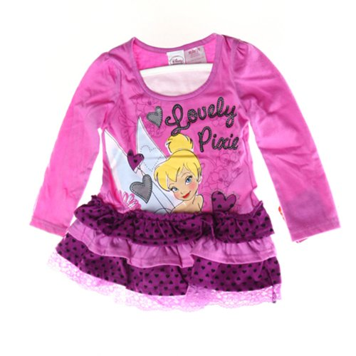 Disney Little Girls' Toddler Long Sleeve Tinkerbell Ruffle Dress