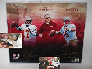 Bobby Bowden, Charlie Ward and Chris Weinke Hand Signed Autographed Florida State FSU...