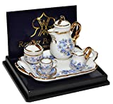 Set: Miniatur Teeservice mit Geschirr - für Puppenstube - Maßstab 1:12 Porzellan / Kermik - Reutter - Puppenhaus Küche Tee Kaffeservice blau