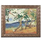 Trademark Fine Art By The Seashore Martinique Canvas Art by Paul Gaugin, 16 by 20-Inch, Gold Ornate Frame
