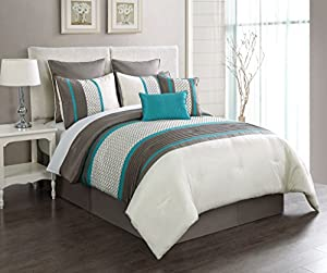 8 Piece King Aruba Turquoise/Taupe Comforter Set