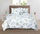 Vivienne Collection 5-Piece Printed Quilt Set with Shams & Decorative Pillows By Home Fashion Designs (Full / Queen)
