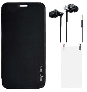 Royal Rusi Flip cover for Lava Iris Atom 2s With High Bass Dual Speaker Earphones & Screenguard - Black
