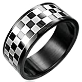 New Gents Black Stainless Steel Band Ring With Chess Board Design, 8mm Wide.