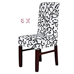 6 Piece Spandex Print Chair Cover Slipcovers Wedding Banquet Anniversary Party Home Decoration ,White Black