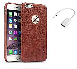 Mobimax Vorson Lexza Series Double Stitch Leather Shell with Metallic Logo Display Back Cover For Apple iPhone 6 -Brown With Audio Splitter