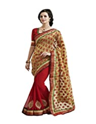 Gorgeous Light Gold And Orange Chiffon Saree With Blouse