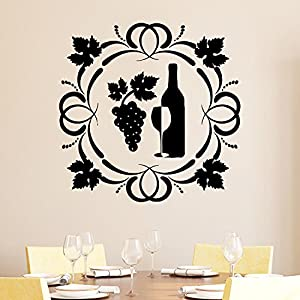 Wall Decal Wine Glass With Grapes Vinyl Sticker Decals Cafe Kitchen Room Home Decor Bedroom Art