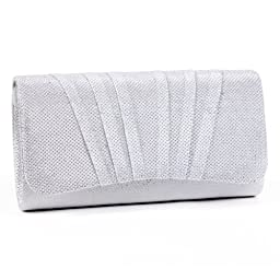 Damara Womens Perfectly Pleated Clutch Party bags,white