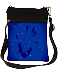 Snoogg Hand Print Cross Body Tote Bag / Shoulder Sling Carry Bag