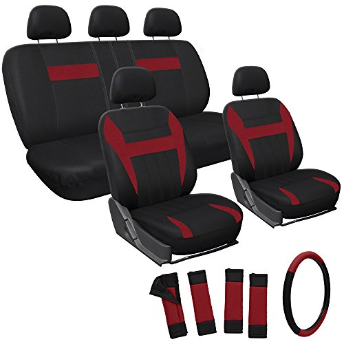 OxGord Car Seat Covers - Mesh Fabric (Red / Black) (17 Piece) (Car Seat Covers Ford Focus compare prices)