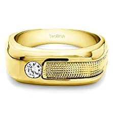 buy 1/5 Ct. Forever Brilliant Moissanite By Charles Colvard Moissanite Ying Yang Mens Wedding Or Cool Mens Fashion Ring In 14K Yellow Gold (0.22 Ct. Twt.)