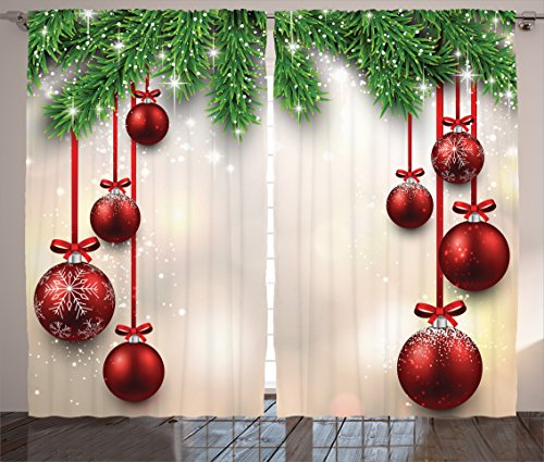 Christmas Curtain Red Green Decorations by Ambesonne, Xmas Inspired Winter Season Theme Fir Twigs and Vibrant Balls Decor Graphic Print, Living Room Bedroom 2 Panels Set, 108 X 84 Inches, Green Red