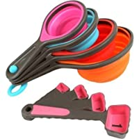 8PC Silicone Measuring Cups Set Cup Spoon Kitchen Tool Collapsible Baking Cooking