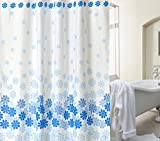 厚手 防水 防カビ デザイン シャワーカーテン 180cm × 180cm カーテンリング 付属 花柄 ブルー