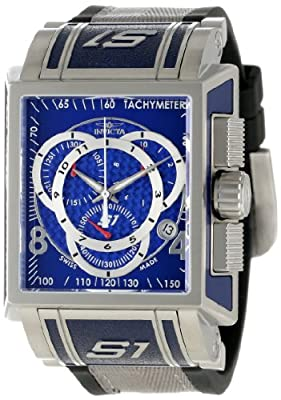 Invicta Men's 1449 Stainless Steel S1 Quartz Chronograph Blue Dial Nylon And Rubber Strap