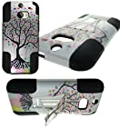 myLife Dim White {Colorful Tree of Hearts Design} Two Piece Neo Hybrid (Shockproof Kickstand) Case for the All-New HTC One M8 Android Smartphone - AKA, 2nd Gen HTC One (External Hard Fit Armor With Built in Kick Stand + Internal Soft Silicone Rubberized Flex Gel Full Body Bumper Guard)
