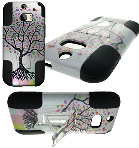 Mylife Dim White {Colorful Tree Of Hearts Design} Two Piece Neo Hybrid (Shockproof Kickstand) Case For The All-New Htc One M8 Android Smartphone - Aka, 2Nd Gen Htc One (External Hard Fit Armor With Built In Kick Stand + Internal Soft Silicone Rubberized F front-49112