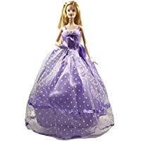 Barbie Purple Strapless Gown, Purple Gown For Barbie Doll