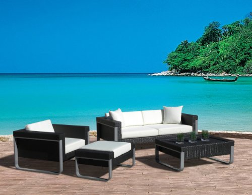 Outdoor Patio Sofa Sectional Wicker Furniture 4Pc Aluminum Resin Couch Set front-636046