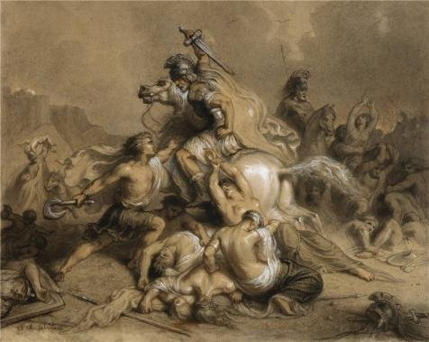 the-high-quality-polyster-canvas-of-oil-painting-theodore-chasseriaubattle-between-romans-and-barbar