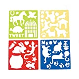 Plastic Pet Stencils - Includes Dogs, Cats, Lizards, Rabits, Bird Cages, Turtle, Paw Prints, Bones and More!