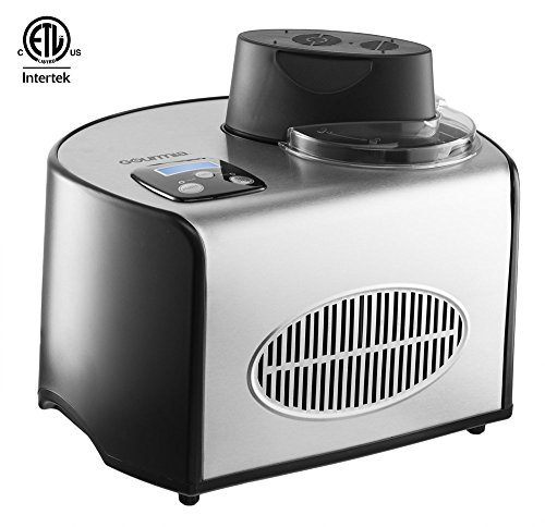 Gourmia GSI200 Automatic Ice Cream Maker Stainless Steel 1.6 Qt – Gelato, Sorbet and Frozen Yogurt Machine – Built-in Compressor and LCD Digital Display- Includes Free Recipe Book – 110/120V