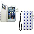 myLife Frost White and Safire Blue - Polka Dot Design - Textured Koskin Faux Leather (Card and ID Holder + Magnetic Detachable Closing) Slim Wallet for iPhone 5/5S (5G) 5th Generation iTouch Smartphone by Apple (External Rugged Synthetic Leather With Magnetic Clip + Internal Secure Snap In Hard Rubberized Bumper Holder)