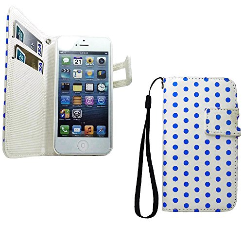 Mylife (Tm) Frost White And Safire Blue - Polka Dot Design - Textured Koskin Faux Leather (Card And Id Holder + Magnetic Detachable Closing) Slim Wallet For Iphone 5/5S (5G) 5Th Generation Itouch Smartphone By Apple (External Rugged Synthetic Leather With